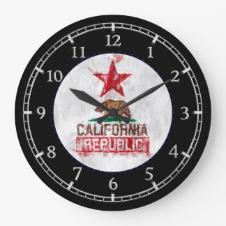 California Republic in Painterly Style Dial Large Clock