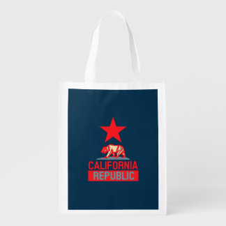 California Republic in Pop Style Reusable Grocery Bag