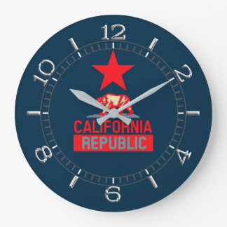 California Republic in Red and Blue Style Dial Large Clock