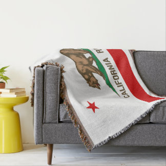 California Republic State Flag Throw Blankets