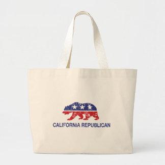 California Republican Bear Distressed Canvas Bags