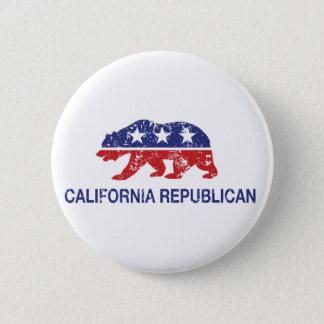 California Republican Political Bear Distressed 6 Cm Round Badge