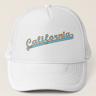 California Retro Surfer Logo Teal Trucker Hat
