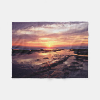 California, San Diego, Sunset Cliffs, Sunset 3 Fleece Blanket