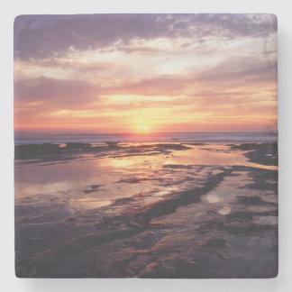 California, San Diego, Sunset Cliffs, Sunset 3 Stone Coaster