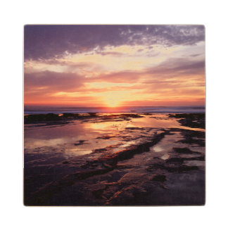 California, San Diego, Sunset Cliffs, Sunset 3 Wood Coaster