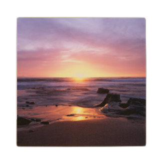 California, San Diego, Sunset Cliffs, Sunset 4 Wood Coaster