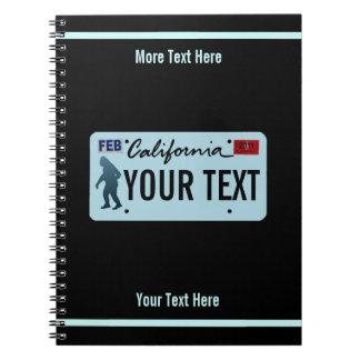 California Sasquatch License Plate Notebook