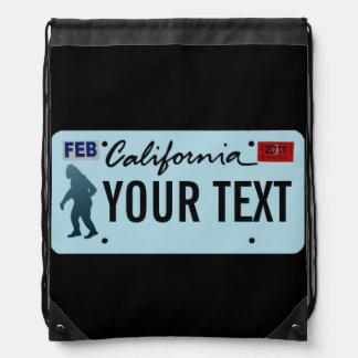 California Sasquatch License Plate Drawstring Bag