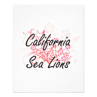 California Sea Lions with flowers background 11.5 Cm X 14 Cm Flyer