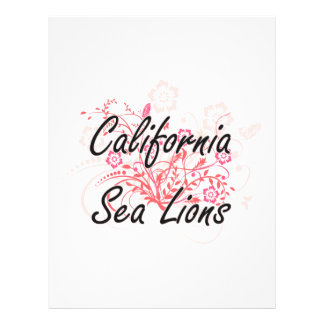 California Sea Lions with flowers background 21.5 Cm X 28 Cm Flyer