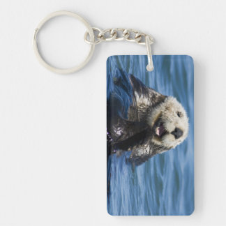 California Sea Otter Enhydra lutris) grooms Double-Sided Rectangular Acrylic Key Ring
