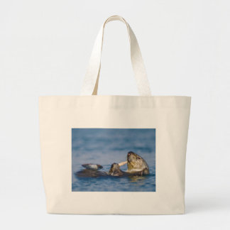California Sea Otter Snacking on Clam Large Tote Bag
