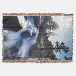 California, Sierra Nevada Mountains, A waterfall Throw Blanket