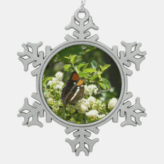 California Sister Butterfly in Yosemite Pewter Snowflake Decoration