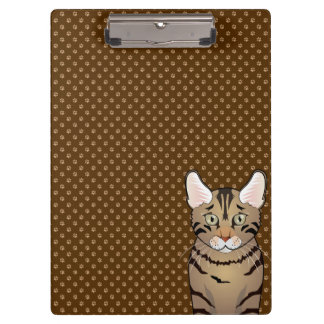 California Spangled Cat Cartoon Paws Clipboard