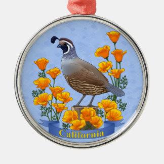 California State Bird Quail & Golden Poppy Silver-Colored Round Decoration