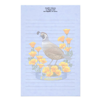 California State Bird Quail & Golden Poppy Stationery