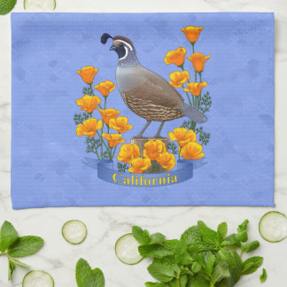 California State Bird Quail & Golden Poppy Tea Towel