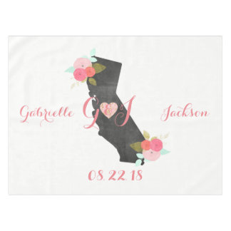 California State Chic Floral Monogram Wedding Tablecloth