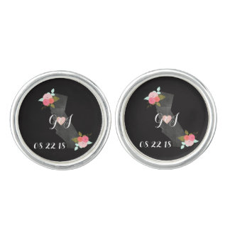 California State Chic Floral Wedding Monogram Cuff Links