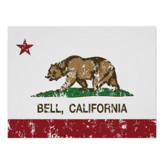 California State Flag Bell Poster