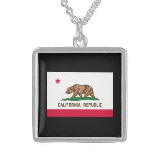 California State Flag Design Square Pendant Necklace