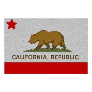 California State Flag on Canvas. Large 3 1/2 by 2  Poster