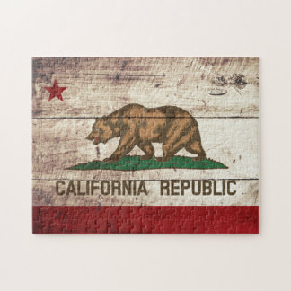 California State Flag on Old Wood Grain Jigsaw Puzzle