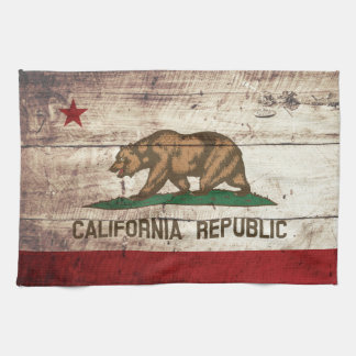 California State Flag on Old Wood Grain Tea Towel