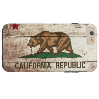 California State Flag on Old Wood Grain Tough iPhone 6 Plus Case