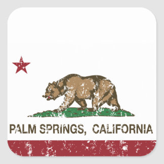 California State Flag Palm Springs Square Sticker