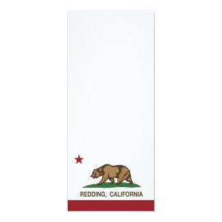 "California State Flag Redding 4"" X 9.25"" Invitation Card"
