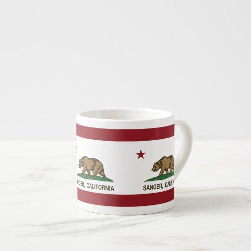 California State Flag Sanger Espresso Mugs