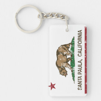 California State Flag Santa Paula Double-Sided Rectangular Acrylic Key Ring