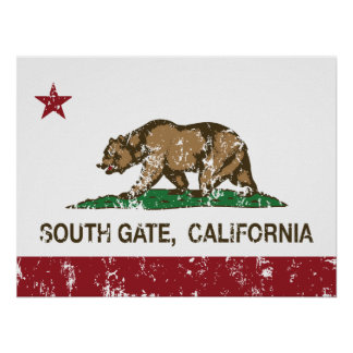 California State Flag South Gate Posters