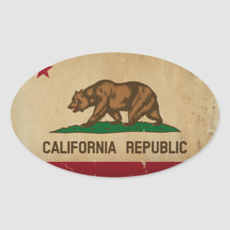 California State Flag VINTAGE Oval Sticker