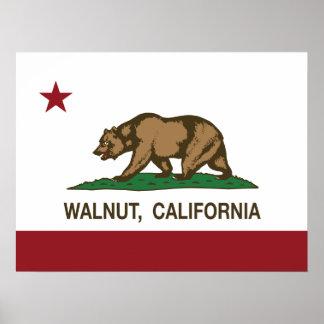 California State Flag Walnut Poster