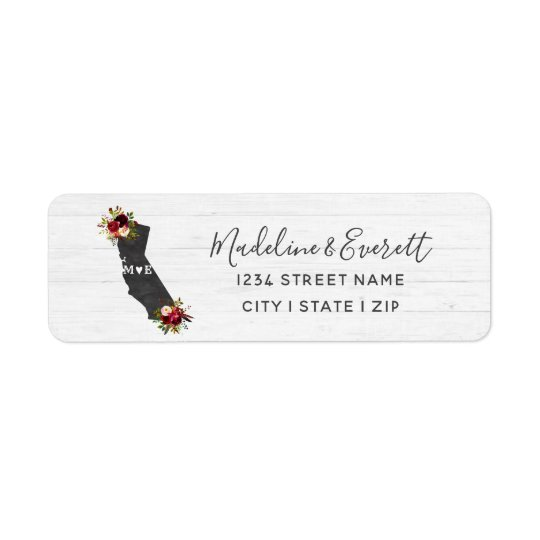 California State Floral Wedding Return Address