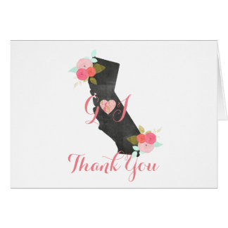 California State Floral Wedding Thank You Card