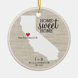 California State Love Home Sweet Home Custom Map Christmas Ornament