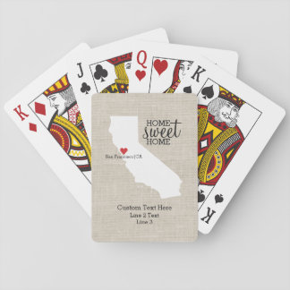 California State Love Home Sweet Home Custom Map Playing Cards