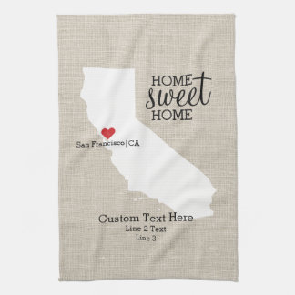 California State Love Home Sweet Home Custom Map Tea Towel