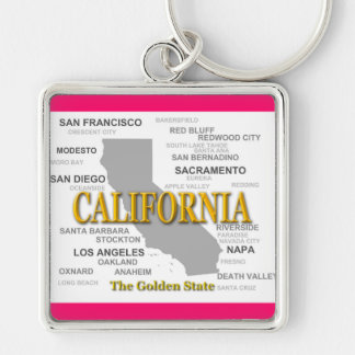 California State Pride Map Silhouette Keychains