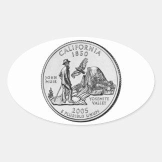 California State Quarter Oval Sticker
