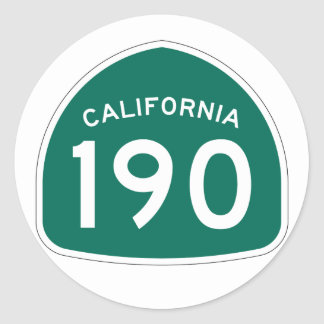 California State Route 190 Classic Round Sticker
