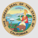 California State Seal and Motto Round Sticker