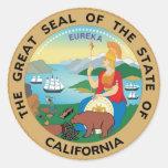 California State Seal and Motto Round Sticker