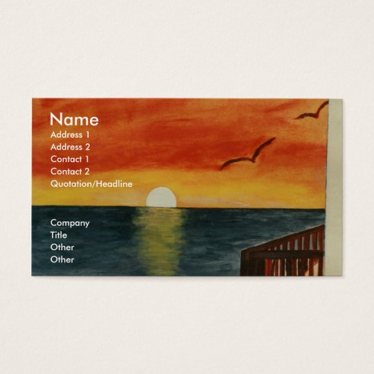 California Sunset Over the Ocean Business Card Art