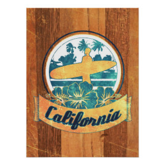 California surfboard poster